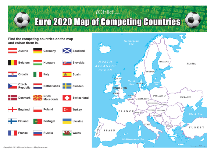 Thumbnail image for the Euro 2021 Map of Competing Countries activity.