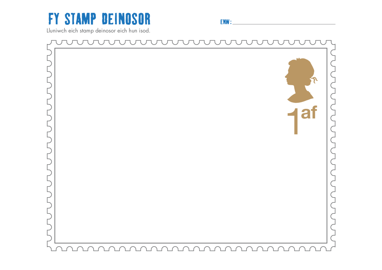 Welsh Language Primary 3) Design a Dinosaur Stamp Drawing Template- Queen's Head