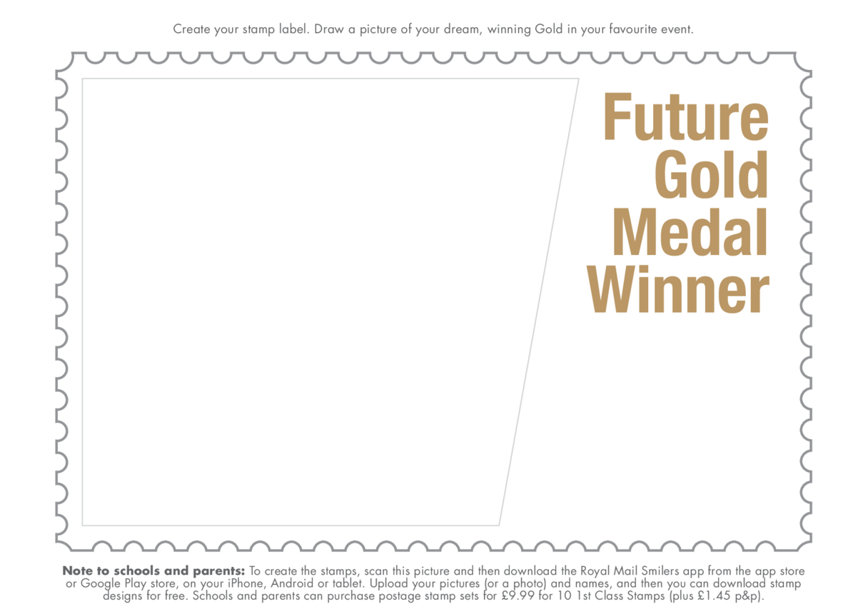 Early Years 3) Stamping My Mark- Future Gold Medal Winner Drawing Template