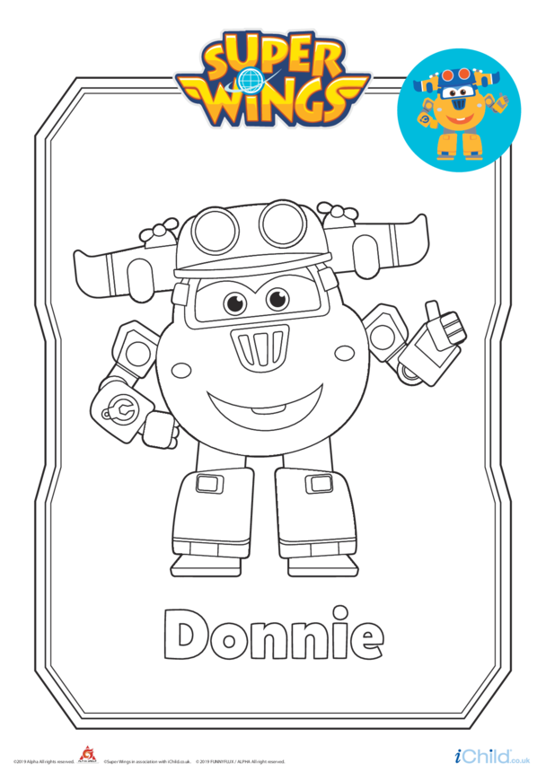 Super Wings: Donnie Colouring in Picture (Robot Form)