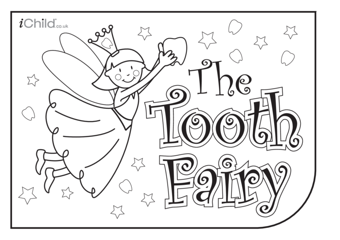 Thumbnail image for the Tooth Fairy Colouring in picture activity.