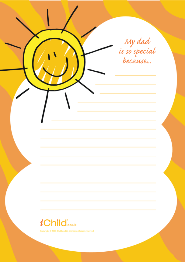 Father's Day Lined Writing Paper Template