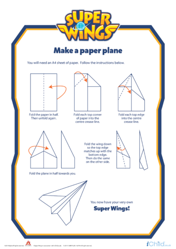 Thumbnail image for the Super Wings: Make a Paper Plane activity.