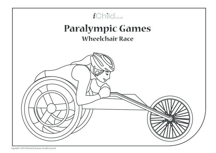Thumbnail image for the Paralympic Games Wheelchair Race Colouring in Picture activity.