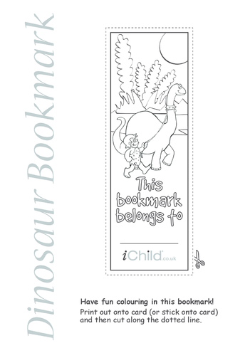 Thumbnail image for the Dinosaur Bookmark activity.