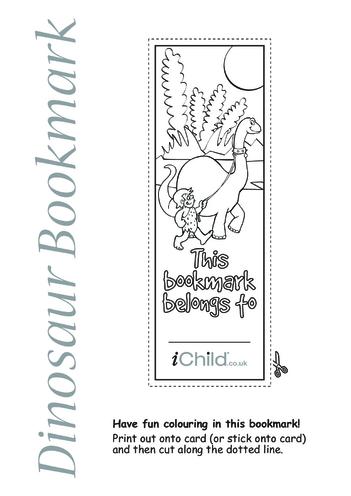 Thumbnail image for the Dinosaur Bookmark activity.