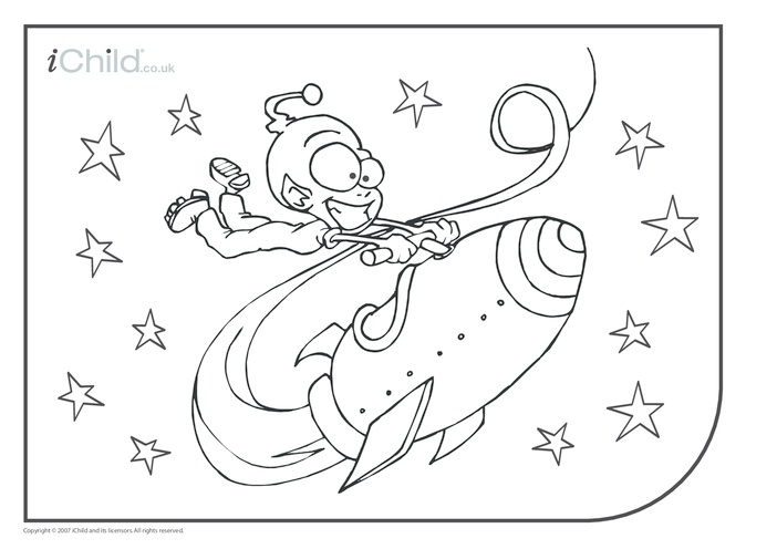 Thumbnail image for the Alien Spaceship Colouring in picture activity.
