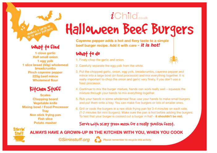 Thumbnail image for the Halloween Beef Burgers activity.