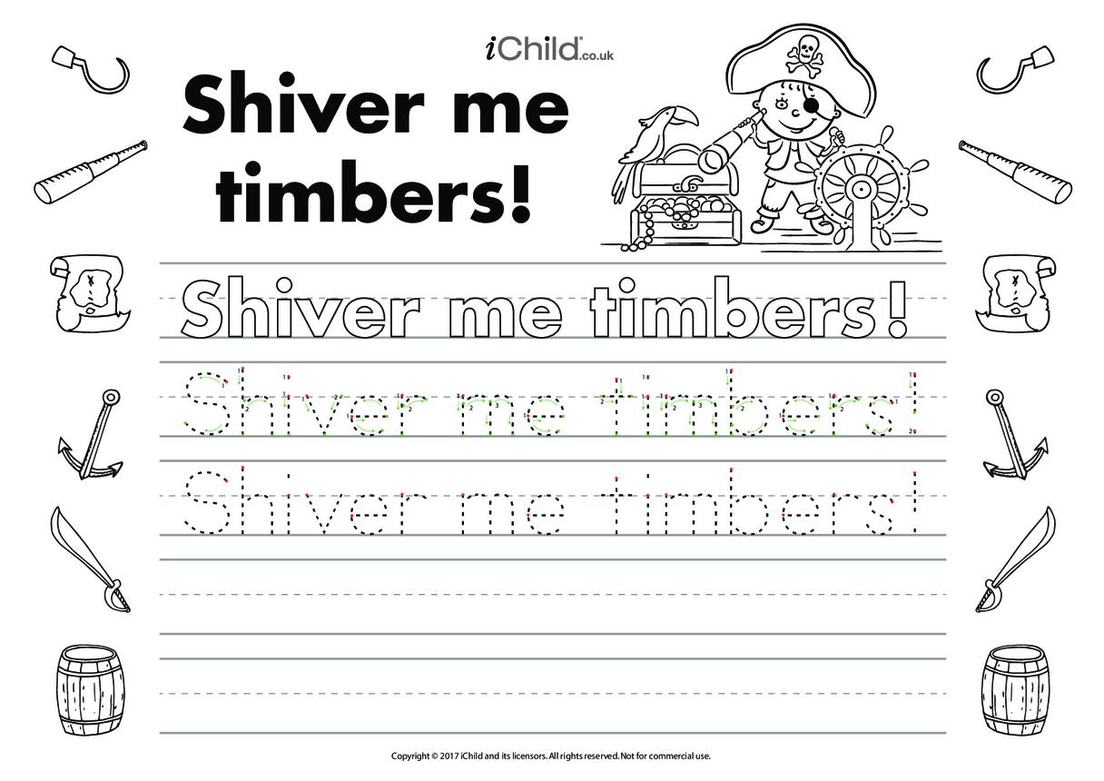 Shiver Me Timbers Handwriting Practice