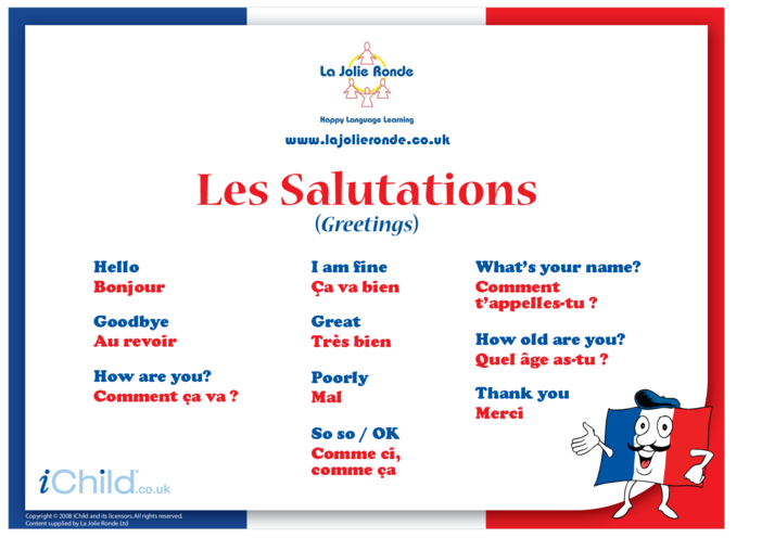 Thumbnail image for the Greetings in French activity.