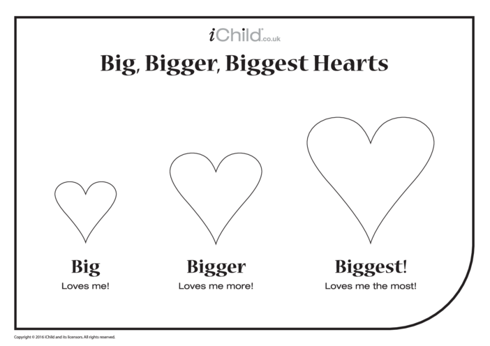 Thumbnail image for the Big, Bigger & Biggest Valentine Hearts activity.