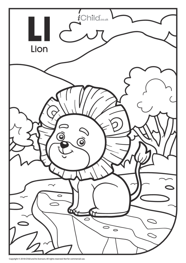 L is for Lion Colouring in Picture