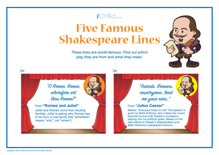 Thumbnail image for the Shakespeare Five Famous Lines activity.