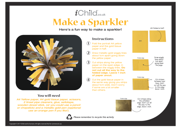 Thumbnail image for the Make a Sparkler Craft activity.