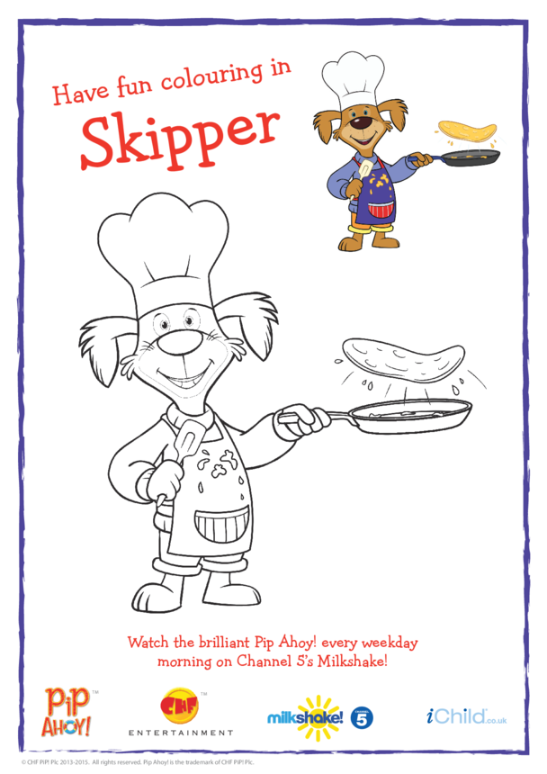 Skipper Pancake Colouring In Picture (Pip Ahoy!)