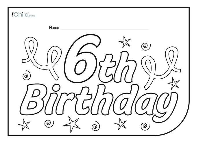 Thumbnail image for the Birthday Party Place Mats for 6 year old 6th birthday activity.