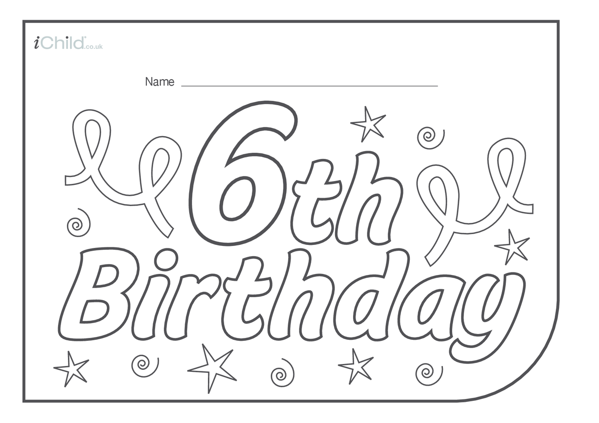 Birthday Party Place Mats for 6 year old 6th birthday