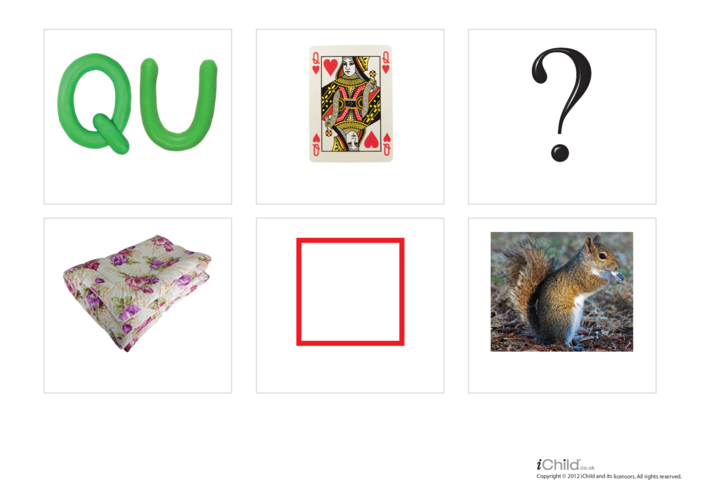 Thumbnail image for the Letter of the Alphabet: QU - Photo Flashcard activity.