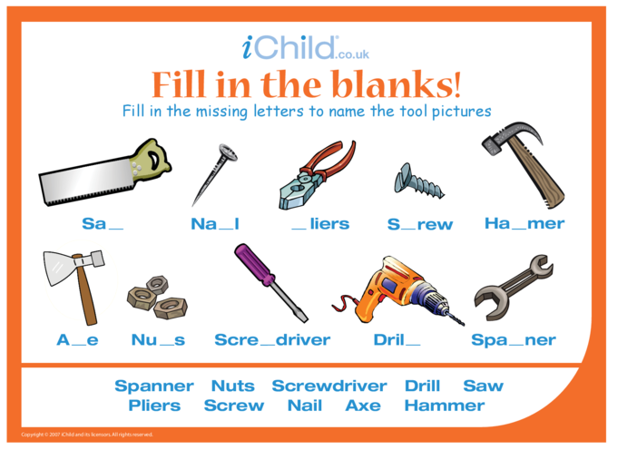Thumbnail image for the Fill in the Blanks - Tools activity.
