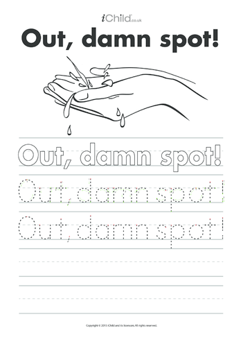 Thumbnail image for the Out, damn Spot! Handwriting Practice Sheet activity.