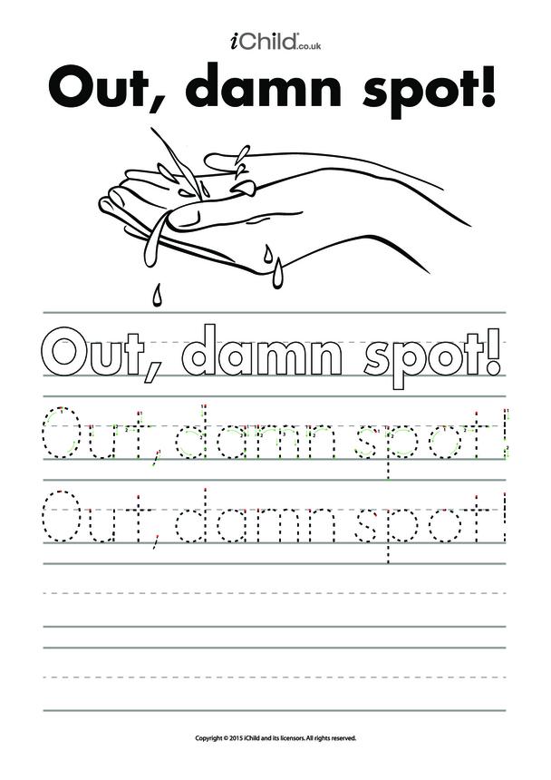 Out, damn Spot! Handwriting Practice Sheet