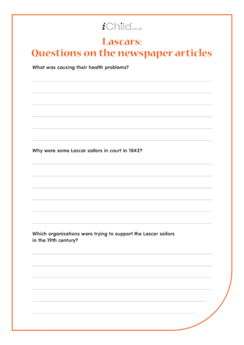 Thumbnail image for the Lascar Worksheet: Questions on the Newspaper Articles activity.