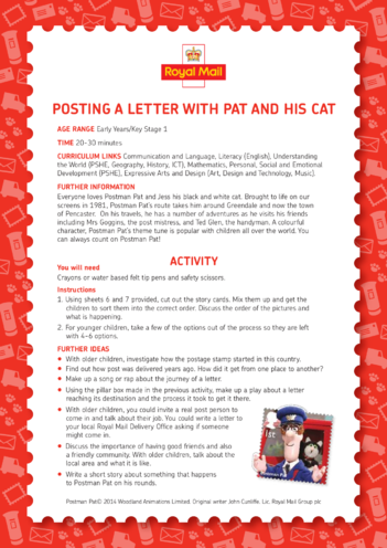 Thumbnail image for the Postman Pat: Posting A Letter With Pat And His Cat Lesson Plan (EYFS/KS1) activity.