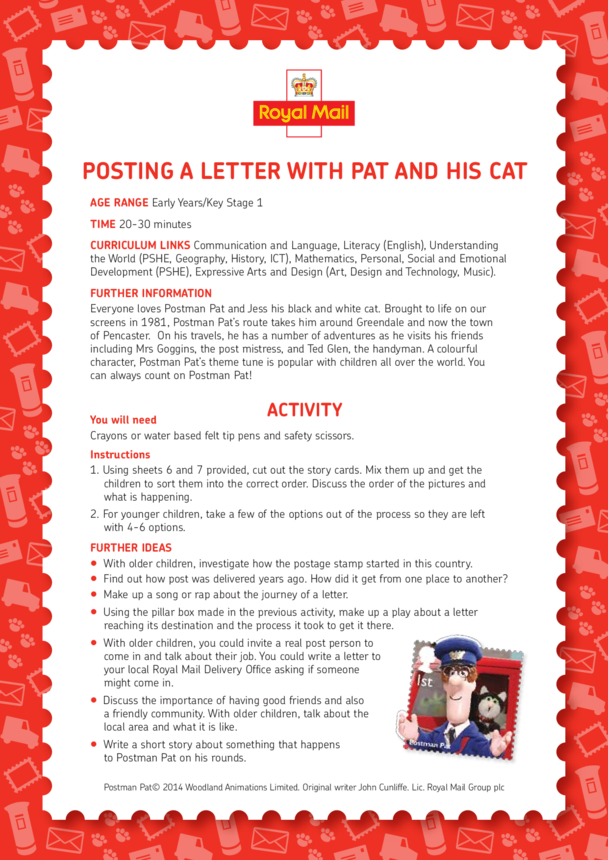 Postman Pat: Posting A Letter With Pat And His Cat Lesson Plan (EYFS/KS1)