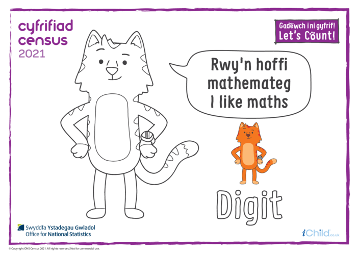 Thumbnail image for the Colour in Counter Cat Digit (Welsh/English) activity.