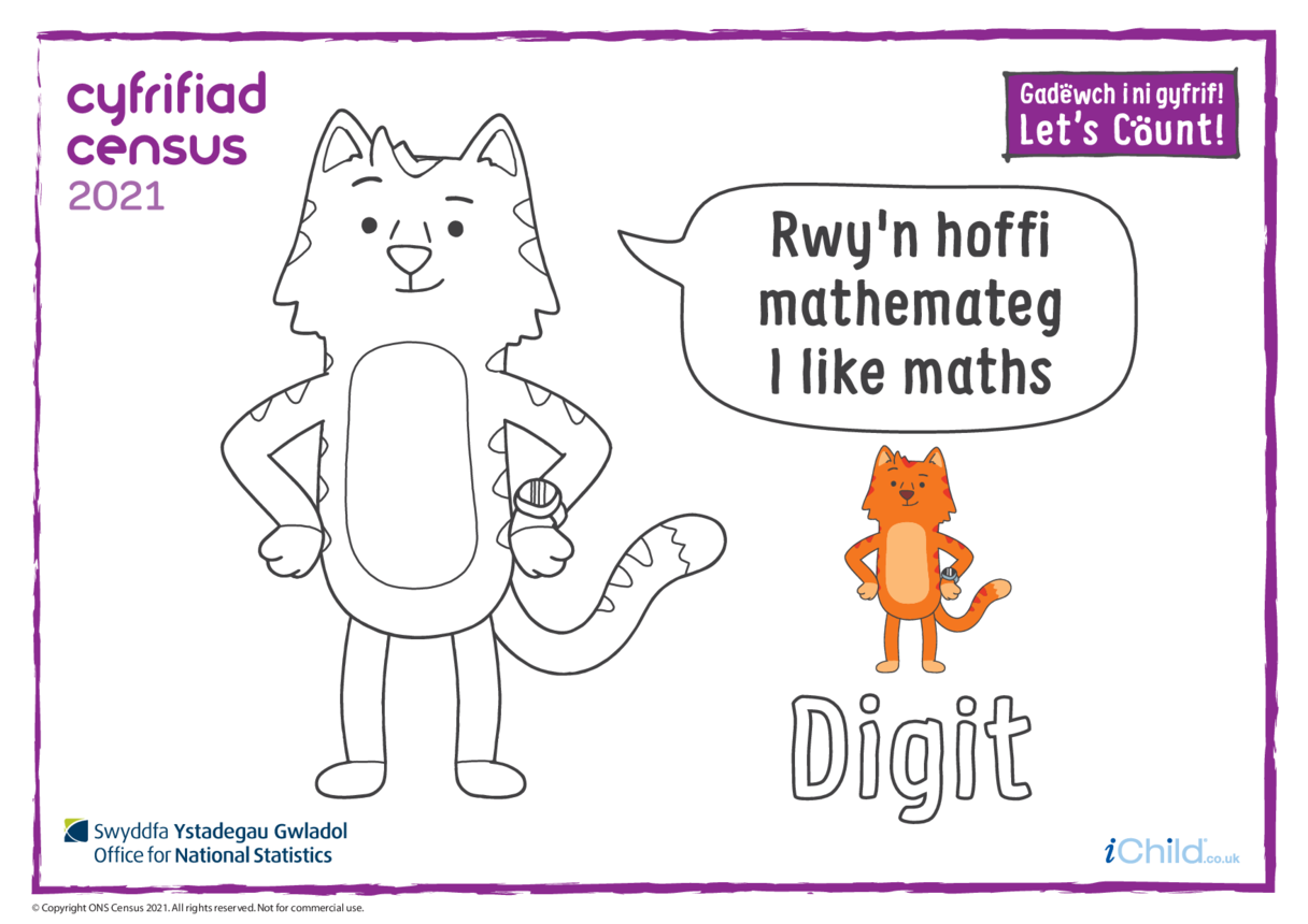 Colour in Counter Cat Digit (Welsh/English)