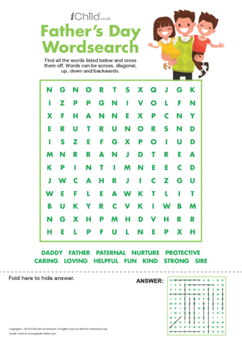 Thumbnail image for the Father's Day Wordsearch activity.