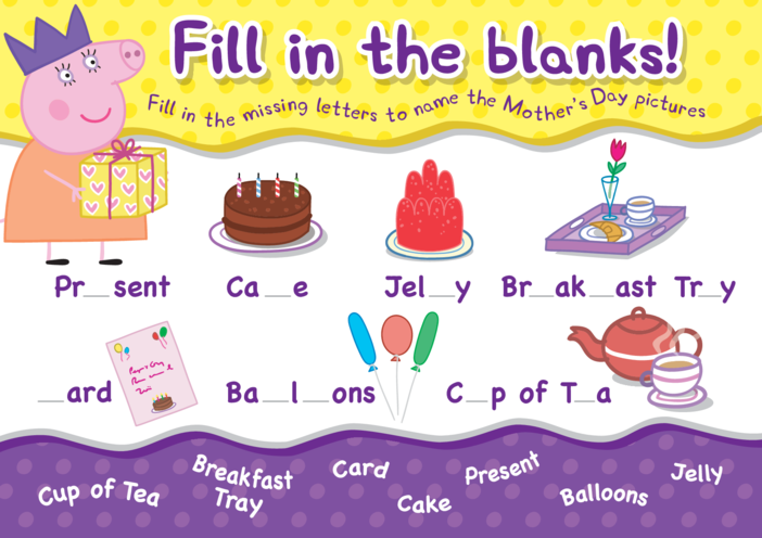 Thumbnail image for the Peppa Pig Fill in the Blanks activity.