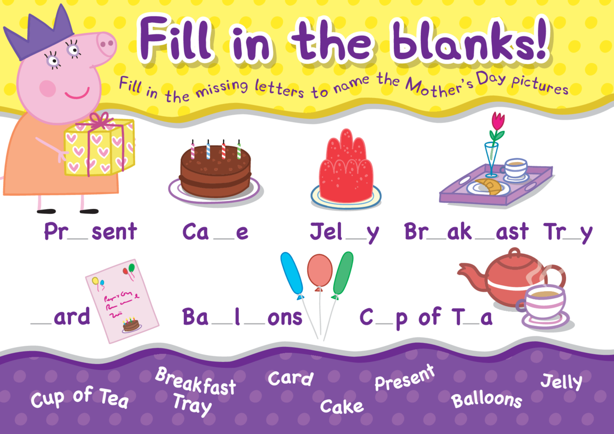 Peppa Pig Fill in the Blanks