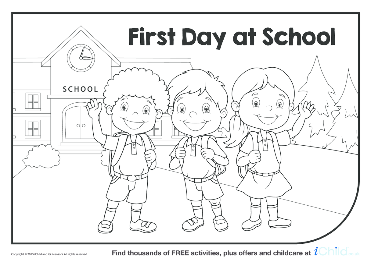 First Day at School Colouring in Picture
