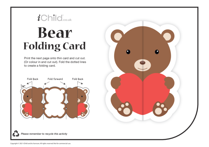 Thumbnail image for the Bear Love Folding Valentine Card activity.
