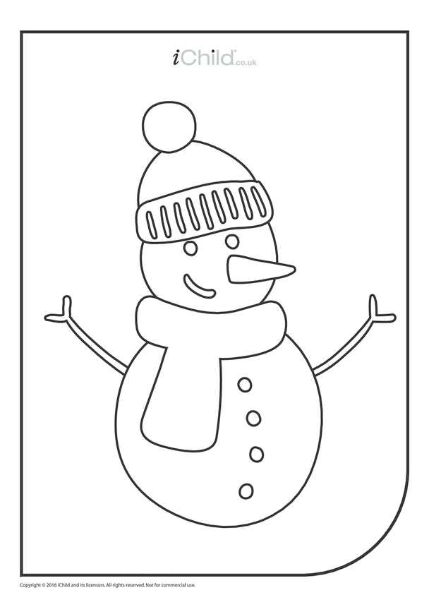 Snowman Colouring in Picture