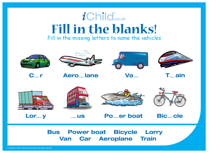 Thumbnail image for the Fill in the Blanks - Vehicles activity.