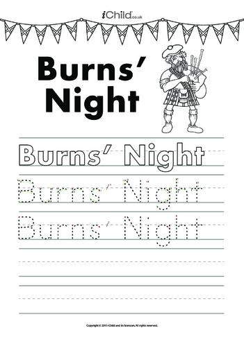 Thumbnail image for the Burns' Night Handwriting Practice Sheet activity.