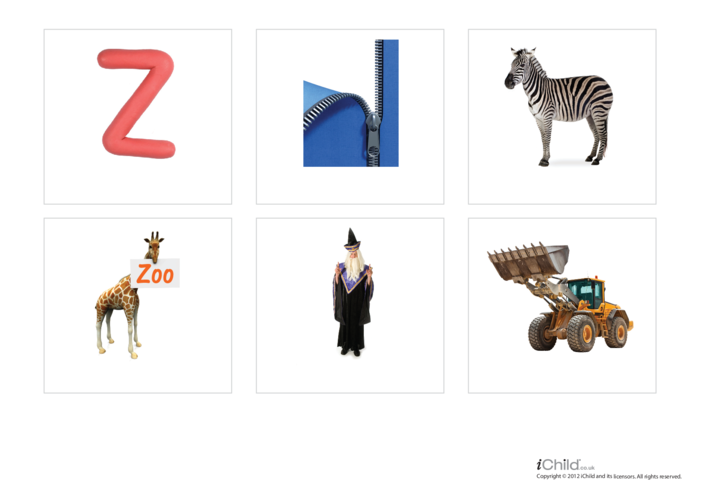 Thumbnail image for the Letter of the Alphabet: Z - Photo Flashcard activity.
