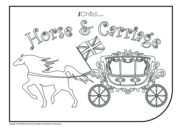 Thumbnail image for the Horse & Carriage Colouring in Picture activity.