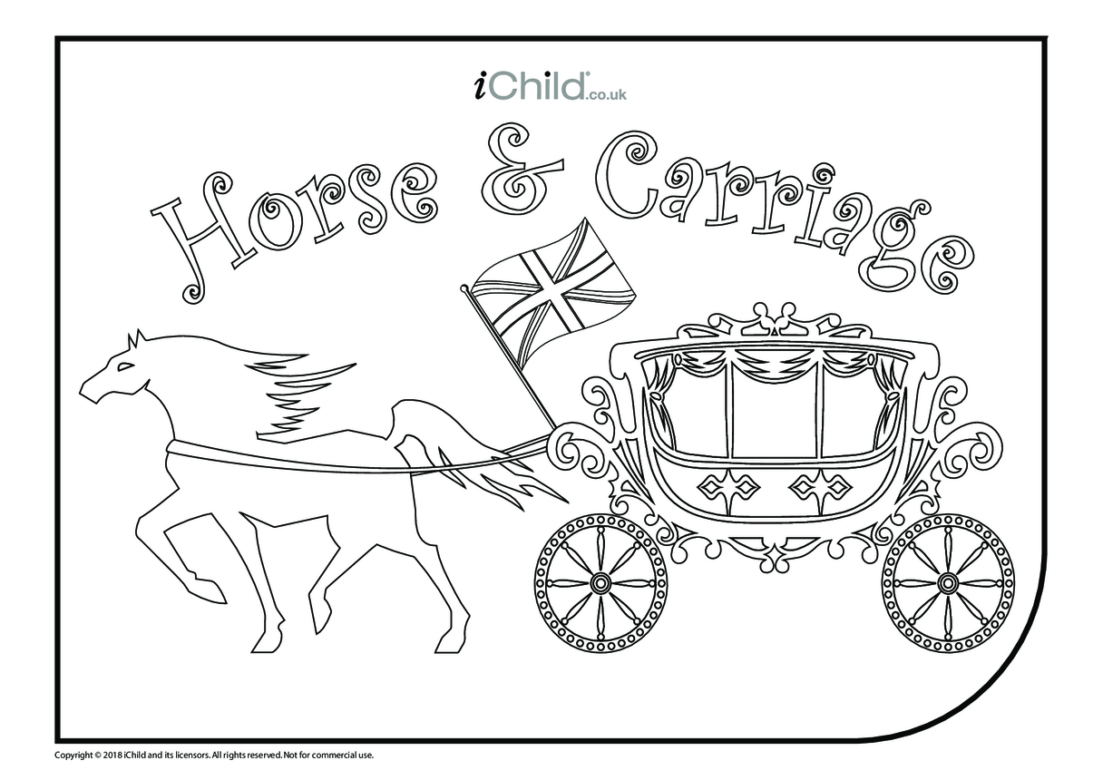Horse & Carriage Colouring in Picture