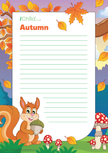Thumbnail image for the Autumn Lined Writing Paper Template activity.
