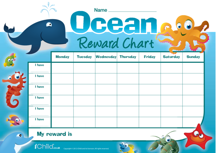 Thumbnail image for the Ocean Animals Reward Chart (in Colour) activity.