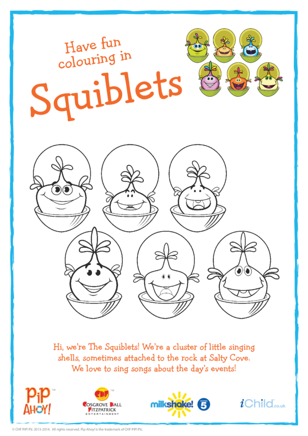 The Squiblets Colouring In Picture (Pip Ahoy!)