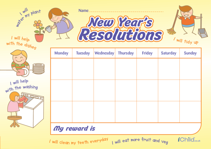 Thumbnail image for the New Year Resolutions Reward Chart activity.
