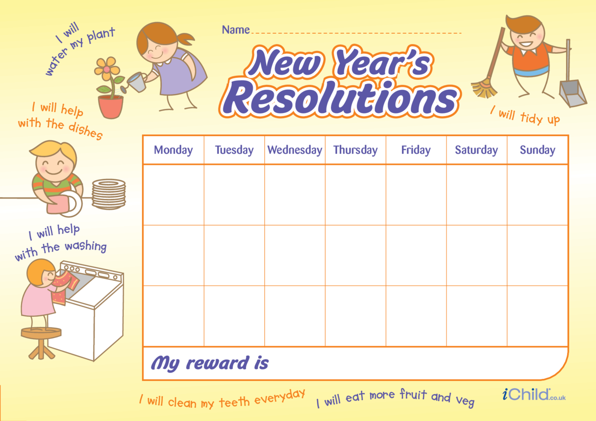 New Year Resolutions Reward Chart