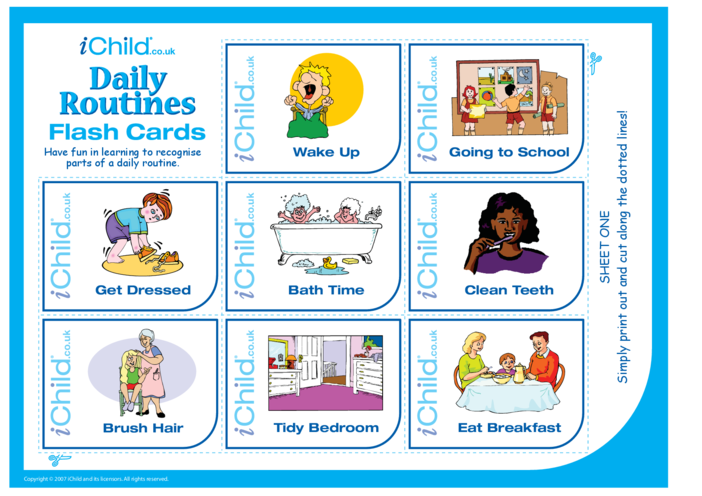 Thumbnail image for the Daily Routines Flash Cards activity.