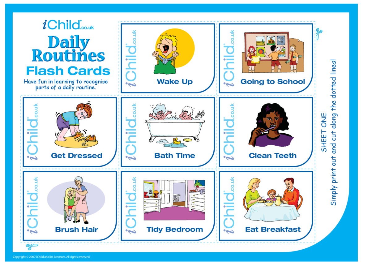 Daily Routines Flash Cards