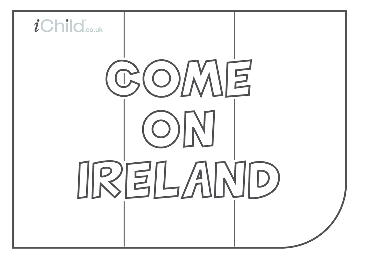 Come on Ireland Flag colouring in picture