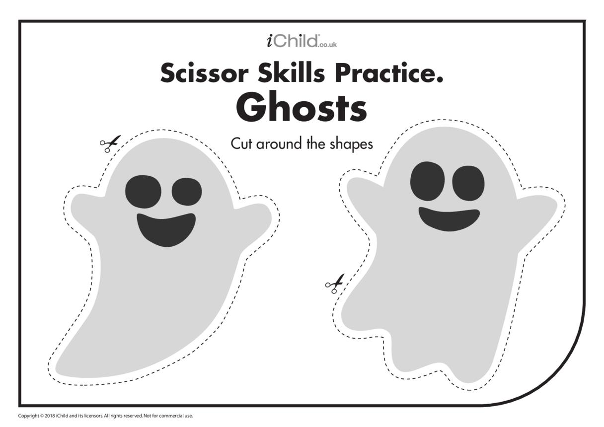 Scissor Skills Practice: Ghosts